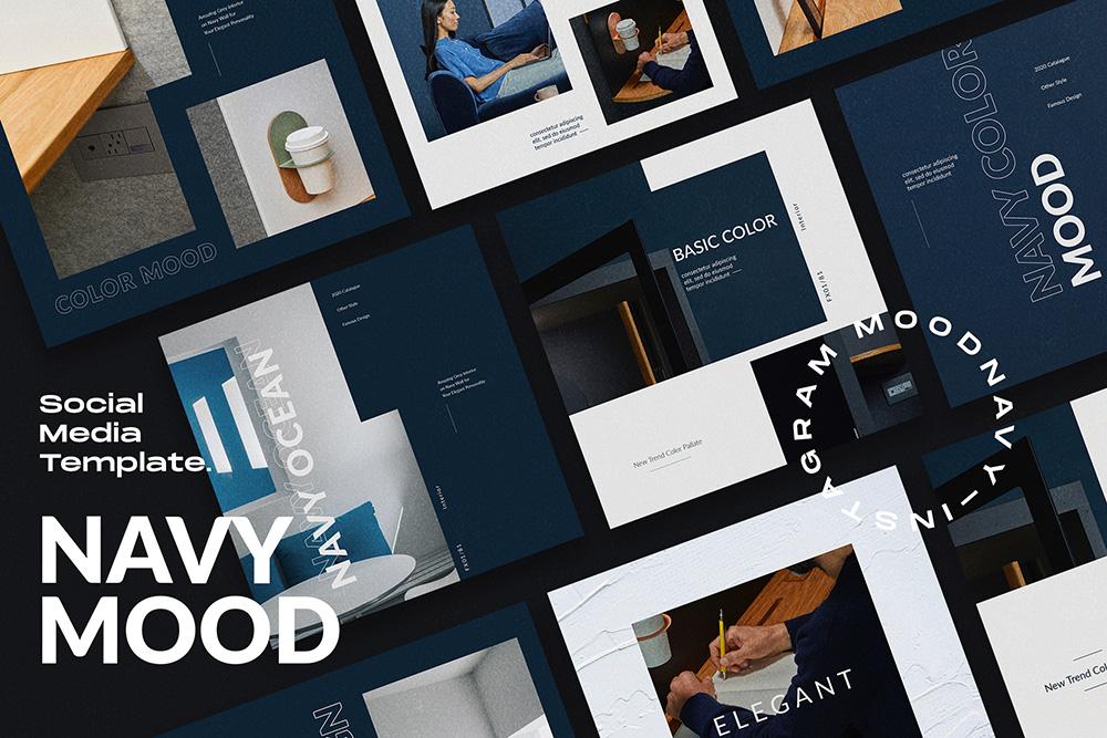 NAVY MOOD // Social Media Kit Post & Stories